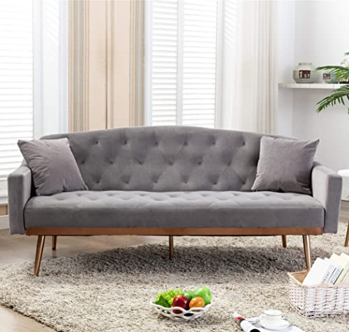 SSLine Velvet Futon Couch,Mid Century Sofa Couch 2 Small Pillows,Modern Upholstered Loveseat Sofa Accent Sofa