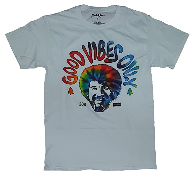 79168889 Image Unavailable. Image not available for. Color: Fashion Bob Ross Good  Vibes Only White Graphic T-Shirt ...