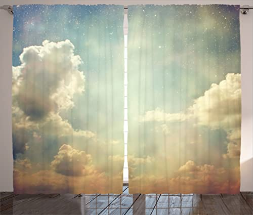 Ambesonne Vintage Curtains, Sky Looks Like Dream Space with Sun Rays Celestial Miracle Atmosphere Photo, Living Room Bedroom Window Drapes 2 Panel Set, 108 X 90 , White Blue