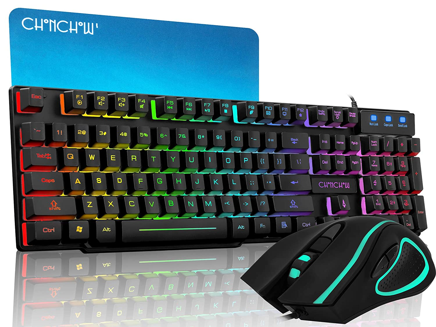 CHONCHOW Rainbow Gaming Keyboard and Mouse Combo Mechanical Feeling Wired LED Backlit Gaming Mouse and Keyboard Emitting Character Compatible with PC Windows PS4 Black