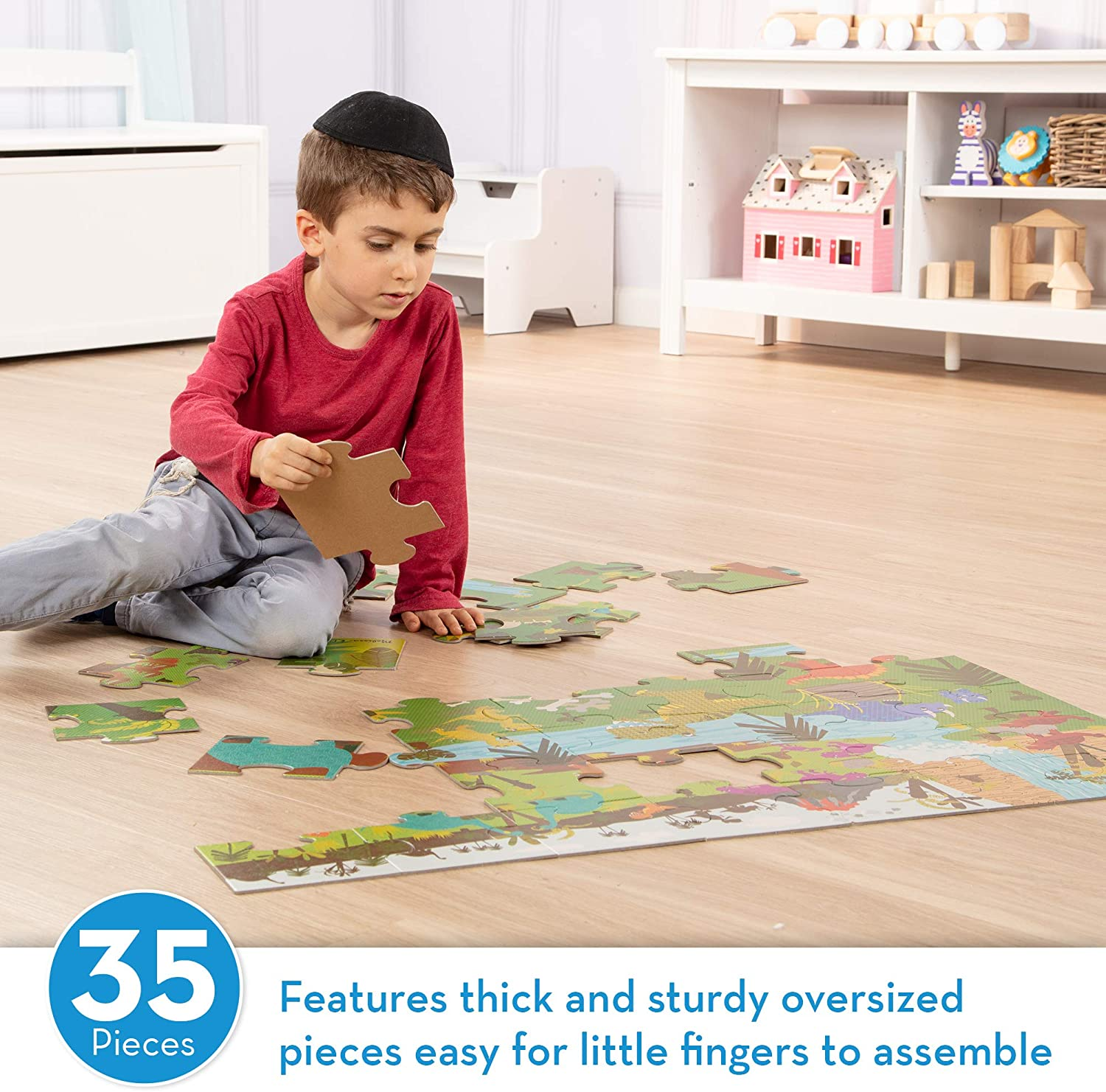 Melissa /& Doug Natural Play Giant Floor Puzzle Dinosaurs 35 Pieces, Great Gift for Girls and Boys - Best for 3, 4, 5, 6, and 7 Year Olds