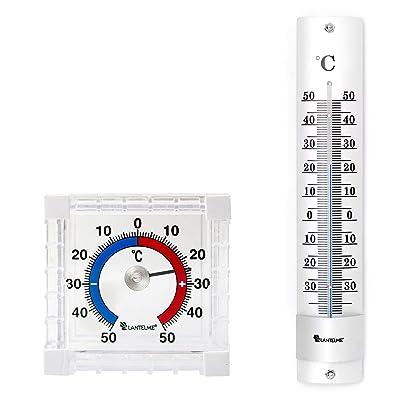 Lantelme 6532Kit de mesure de température pour intérieur et extérieur avec thermomètre intérieur et thermomètre de fenêtre Analogique