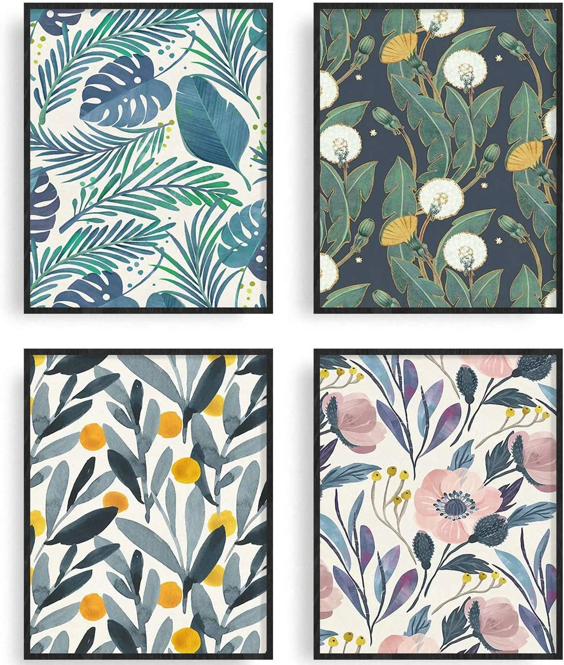 Botanical Plant Wall Art Prints Eucalyptus Leaf Canvas Poster Painting Tropical Plant Leaves Flower Art Print Floral Wall Decor for Kitchen Living Room Home Wall Decoration (style11)