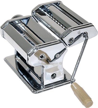 Máquina para hacer pasta manual para espaguetis de metal cromado, Plata Incluye 3 rodillo rodillos – Pasta sí hacen – Ideal Robot de cocina como Prensa para hacer pasta: Amazon.es: Hogar