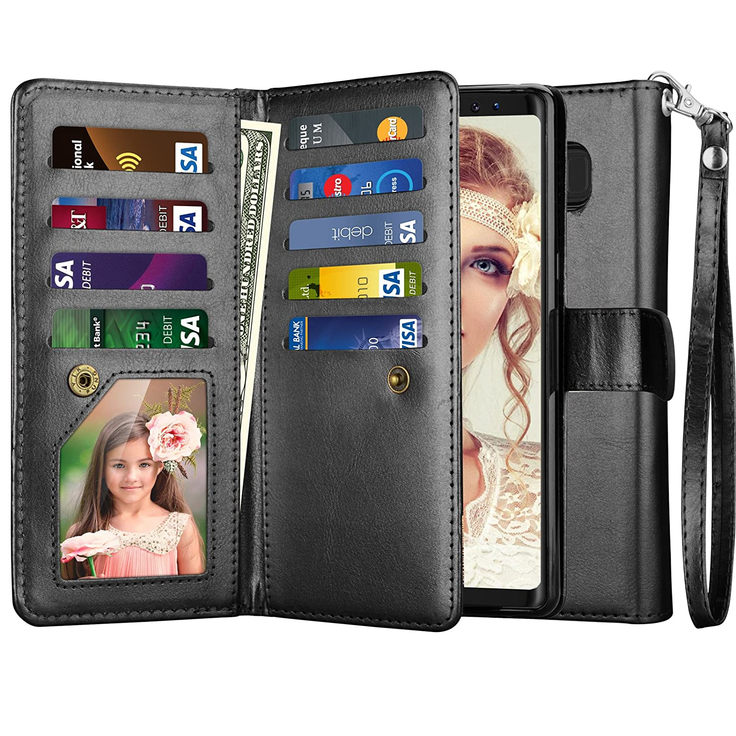 454f31af6300 Njjex for Galaxy Note 8 Case, for Note 8 Wallet Case, PU Leather [9 Card  Slots] ID Credit Folio Flip Cover [Detachable] [Kickstand] Magnetic Phone  ...