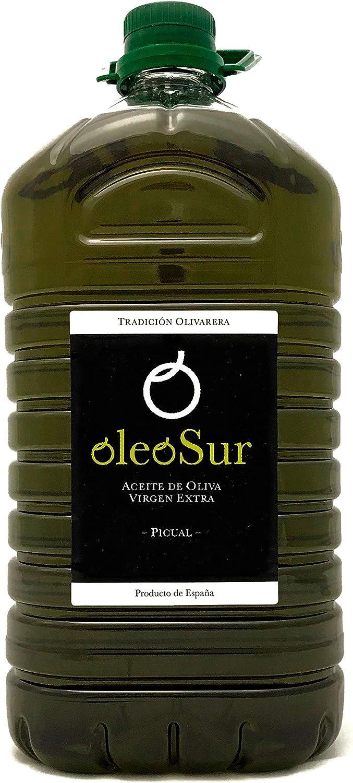 Oleosur Aceite de Oliva Virgen Extra Picual Jaén Andalucía Primera Calidad Cata Aroma Frutal Ligero Fino Amargor Garrafa 5 Litros
