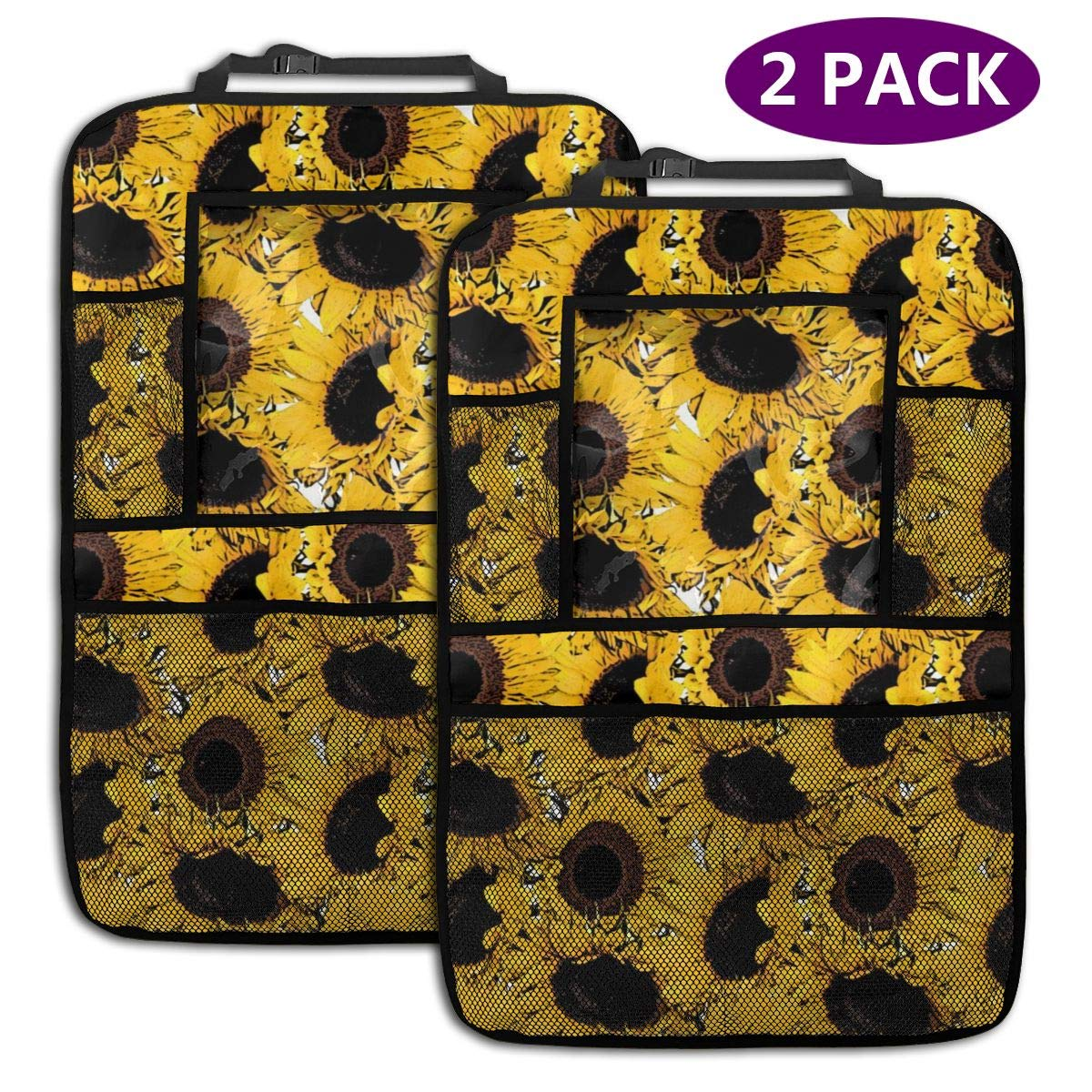 QF6FEICHAN Golden Sunflower Car Seat Back Protectors with Storage Pockets Kick Mats Accessories for Kids and Toddlers by QF6FEICHAN