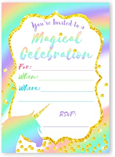 amazon com unicorn brights large invitations rainbow party
