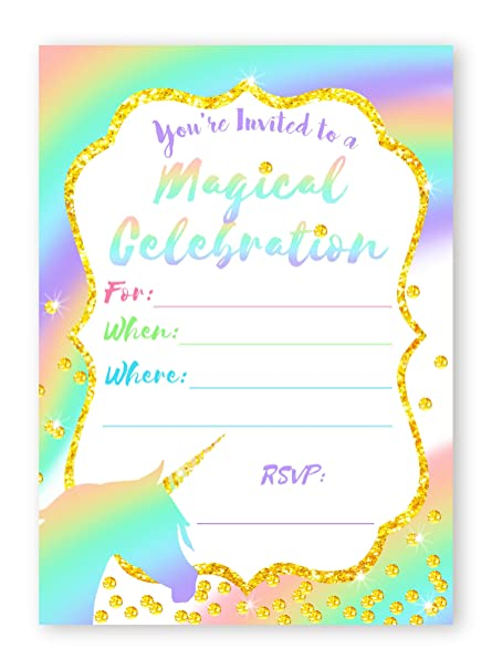 Unicorn Pastel LARGE Invitations Rainbow Party