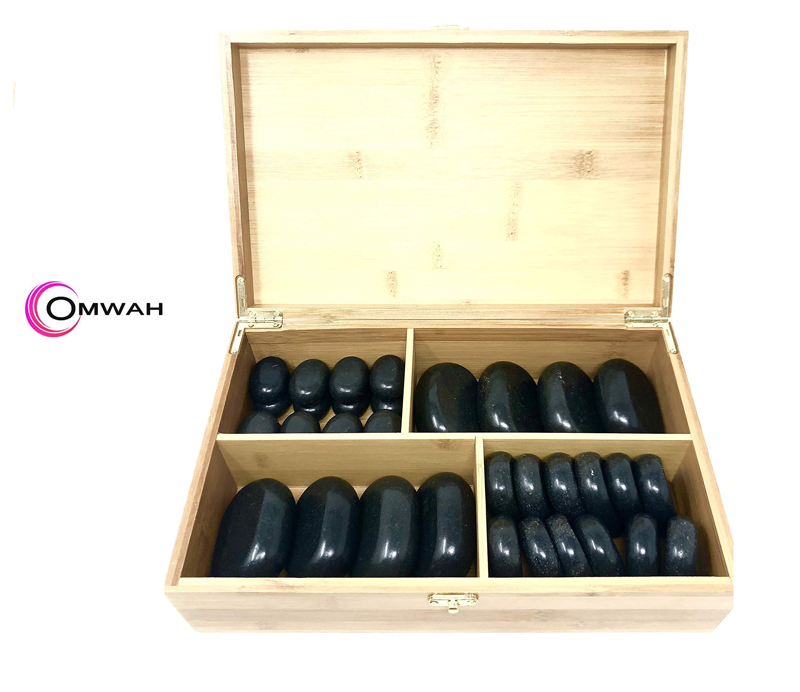 Omwah Basalt Hot Stone Massage Kit 36 Piece with Bamboo Box