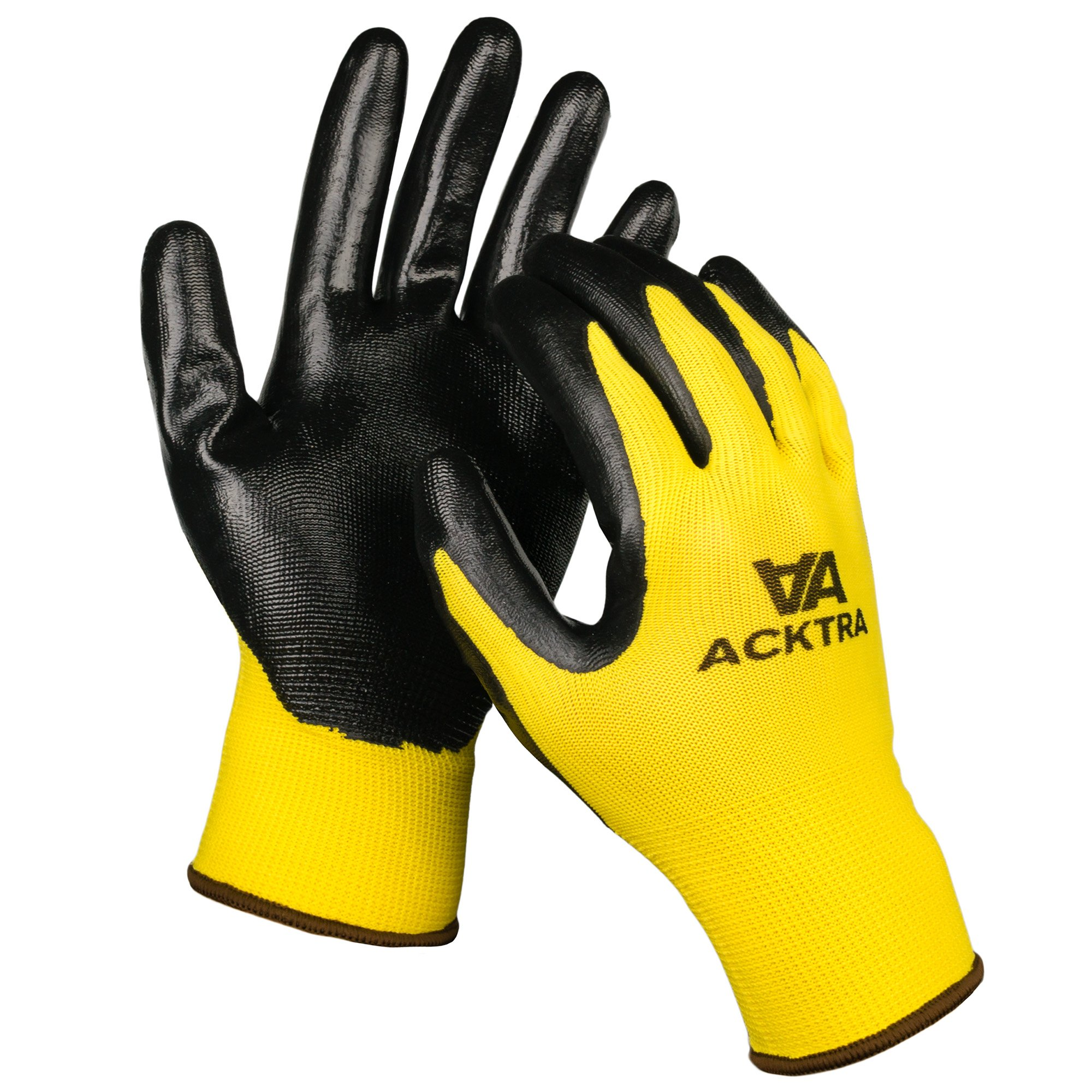 ACKTRA Nitrile Coated Nylon Safety WORK GLOVES 12 Pairs, Knit Wrist Cuff, Multipurpose, for Men & Women, WG003 Black Polyester, Black Nitrile, Small 3