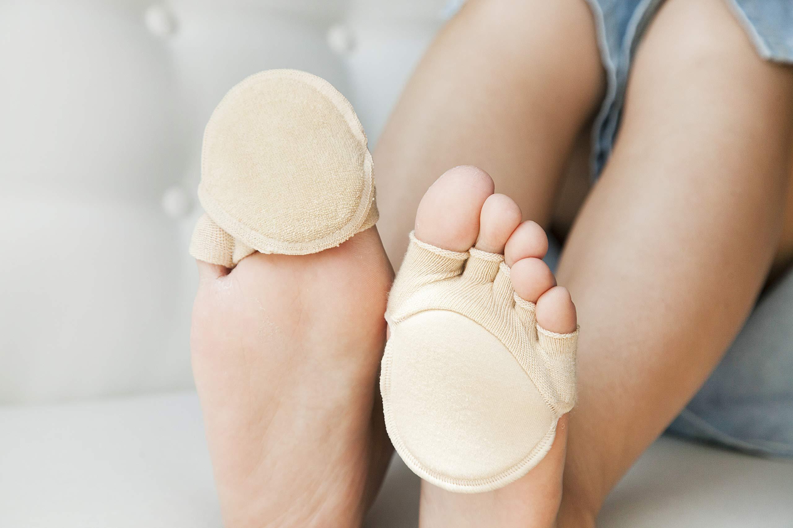 Toe Socks, Cotton Non-Slip Women's Toe Toppers Socks Toe Separating Socks No-Show Half Socks Barre Pilates Yoga Half Palm Socks(2 Pairs) by Pnrskter (Image #5)