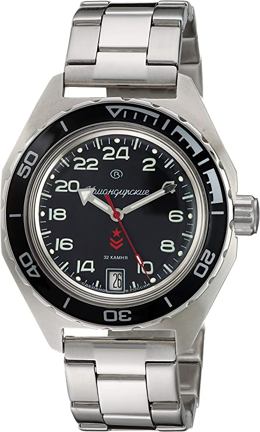 Amazon.com: Vostok Komandirskie Automatic 24 Hour Dial Russian Military Wristwatch WR 200m: Watches