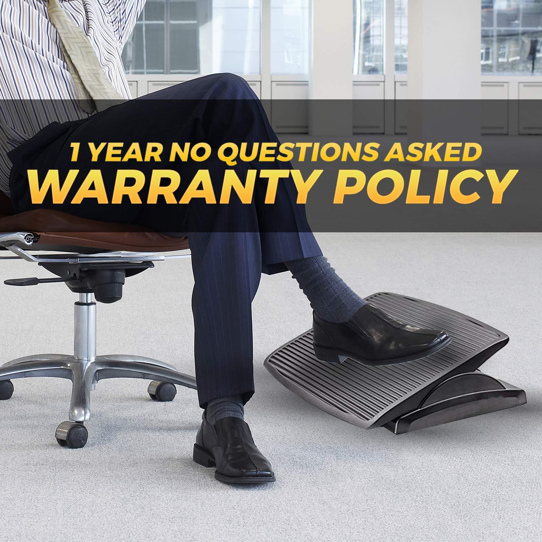 Halter Under Desk Foot Rest, Black Footstool & Office Footrest, Adjustable Angle Positions 13.8'' X 17.7'' - Great for Home & Work