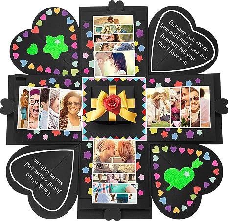 Black DIY Photo Surprise Box Creative Gift Scrapbook Album Birthday Valentines Gift for Birthday Wedding Sweetheart