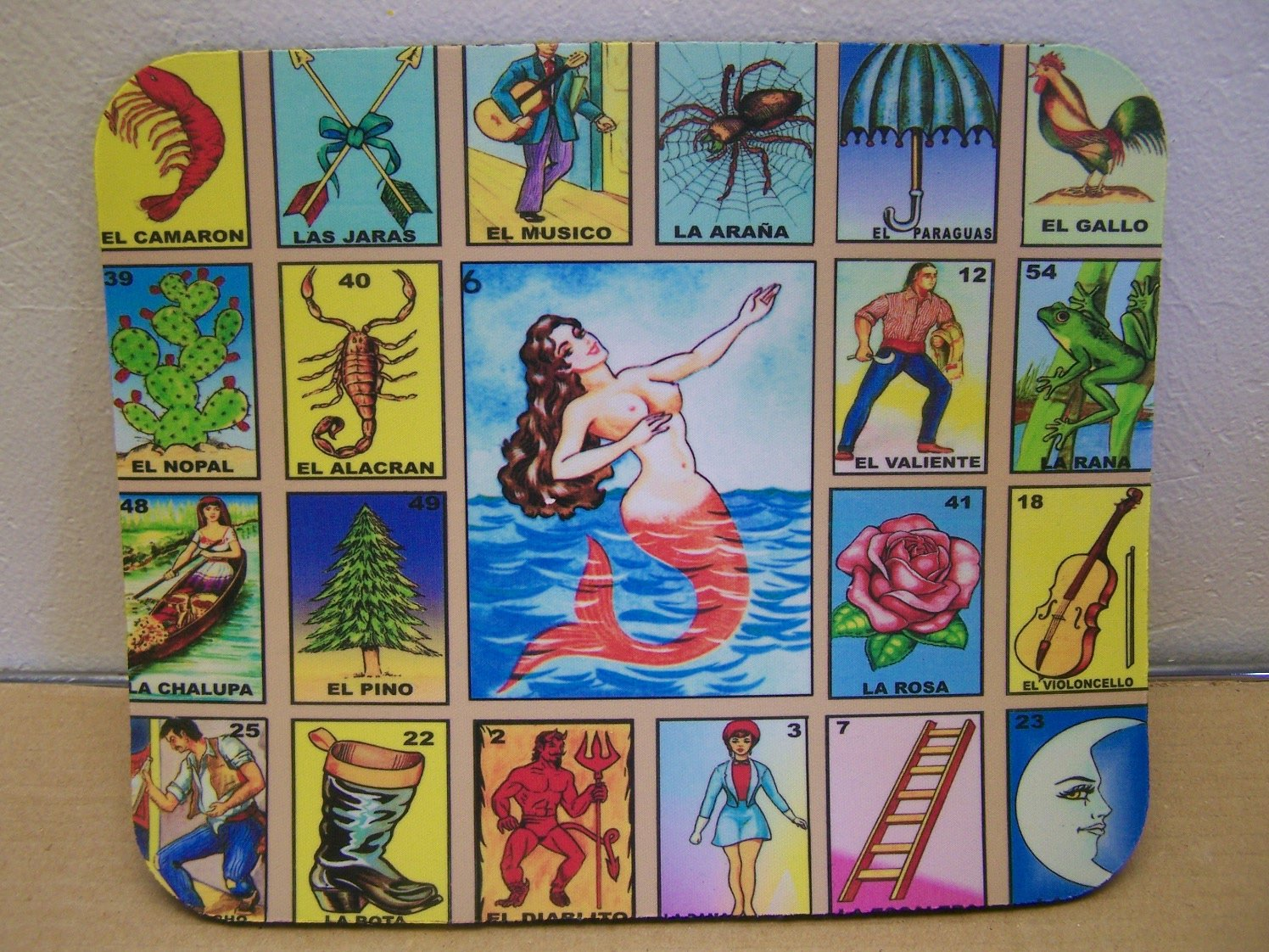 Amazon.com: Mexican Loteria Bingo Game Mousepad - La Sirena, Mermaid: Kitchen & Dining