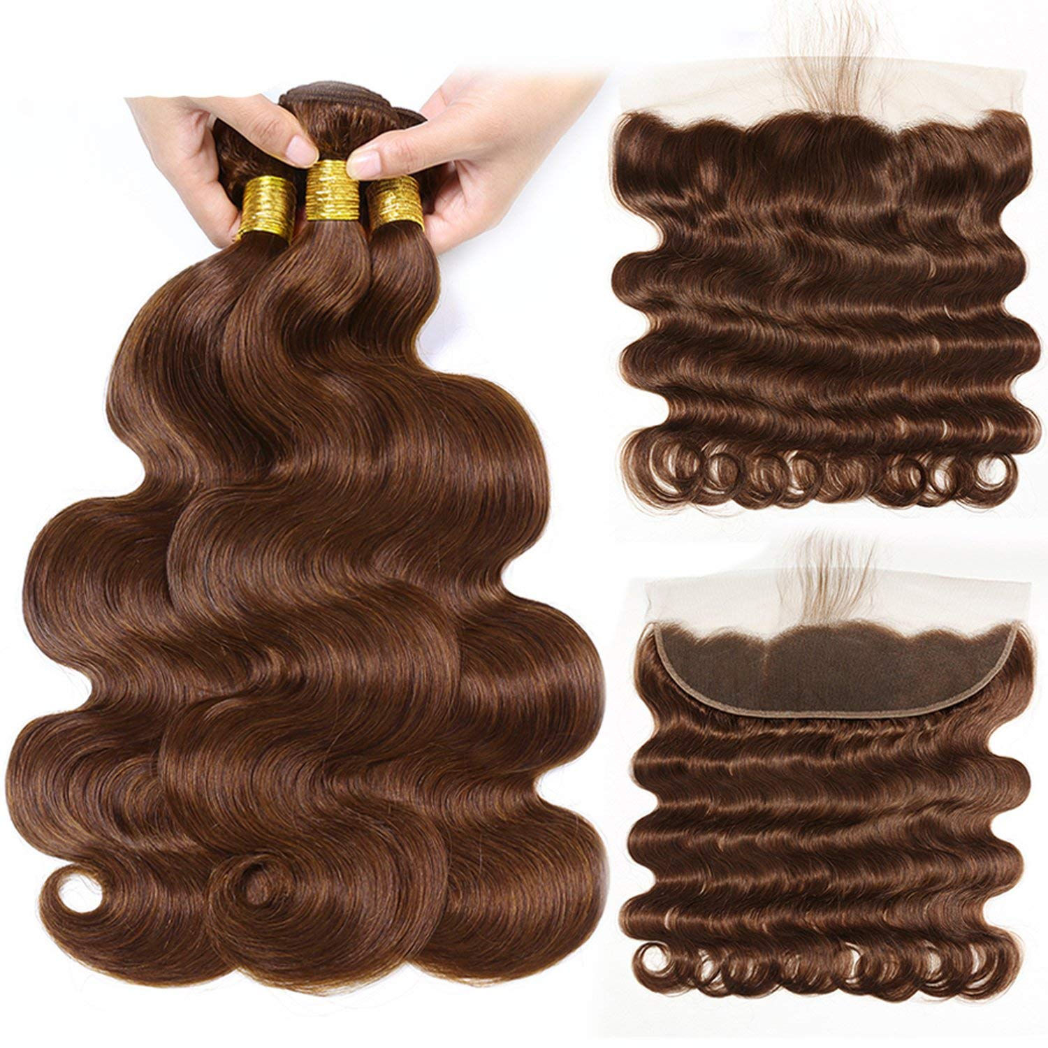 #4 Light Brown Body Wave Hair Bundles With Frontal Brazilian Hair Weave Bundles Human Hair Bundles Romantico NonRemy Hair Extension,16 18+14Closure,Light Brown nonremy