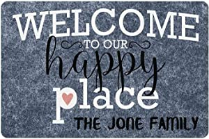 Gxiliru Our Happy Place Welcome Sign Custom Name Funny Family Wall Decor Personalized Home Metal/Wooden Plaque Use Indoor Outdoor