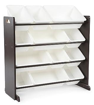 High Quality Tot Tutors Kidsu0027 Toy Storage Organizer With 12 Plastic Bins, Espresso/White  (