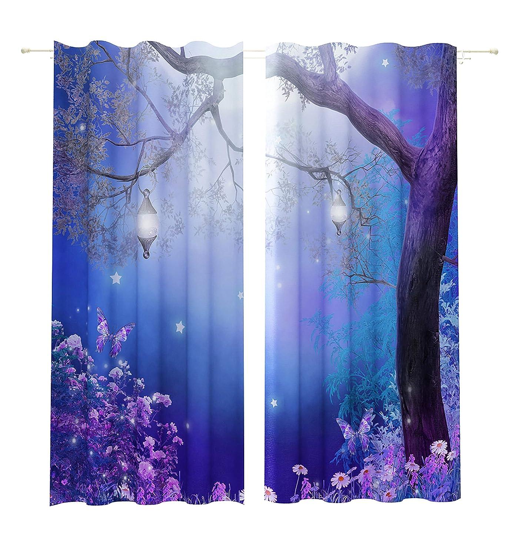 Lemare Vorhang Blickdicht Digitaldruck Verzauberter Baum 2X 145x260 cm
