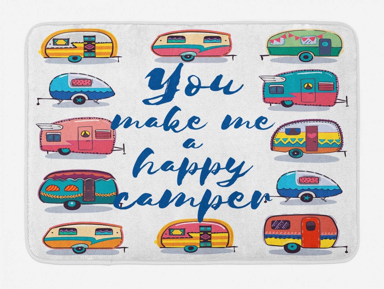 "Lunarable Camper Bath Mat, You Make Me Happy Camper Motivational Words with Caravans Retro Style Travel Graphic, Plush Bathroom Decor Mat with Non Slip Backing, 29.5"" X 17.5"", Indigo Yellow"