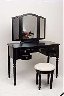 3piece wood makeup trifolding mirror vanity dresser table and cushioned