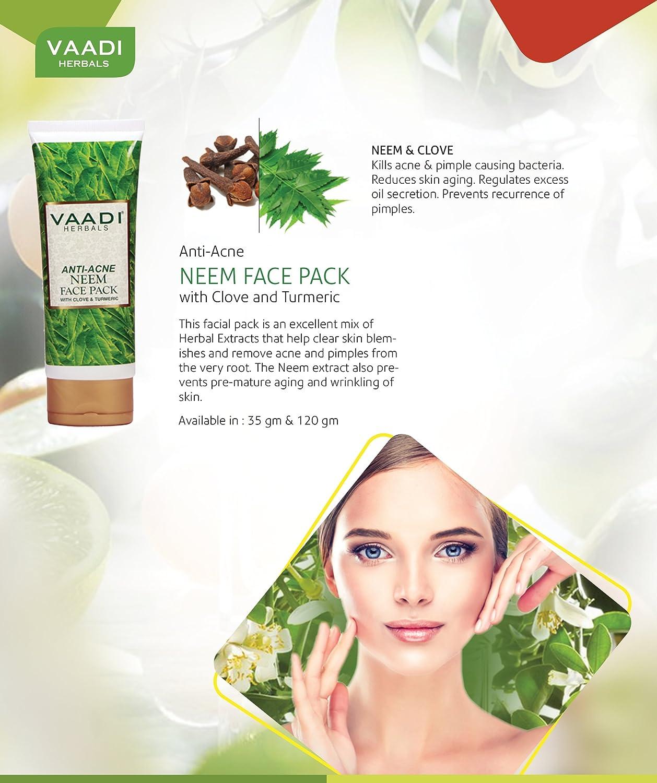 Natural Anti-acne Neem Face Pack con clavo y turmeric- Equidad máscara – Acne-Prone cleasing máscara – anti-aging- Oil Control – Limpieza Profunda todo tipo de piel 120 g: Amazon.es: Belleza
