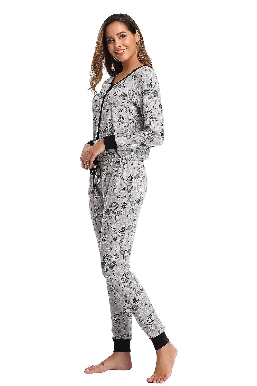 SelfieGo Womens Onesie Pajamas Winter Jumpsuit One Piece PJs
