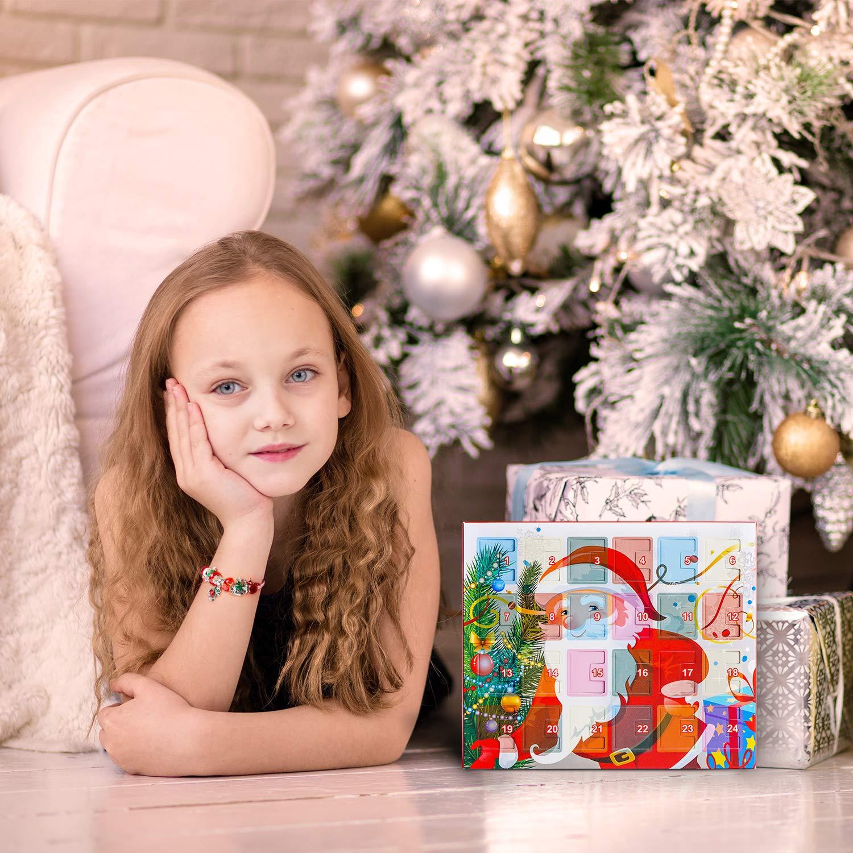 Calendario Avvento Calendari dellavvento Braccialetti DIY Set di Gioielli di Moda con 22 ciondoli 2019 Calendario Conto alla rovescia di Natale Regali per Donne Ragazze