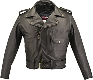 product image for Men's D Pocket Biker Leather Jacket- Black (52)