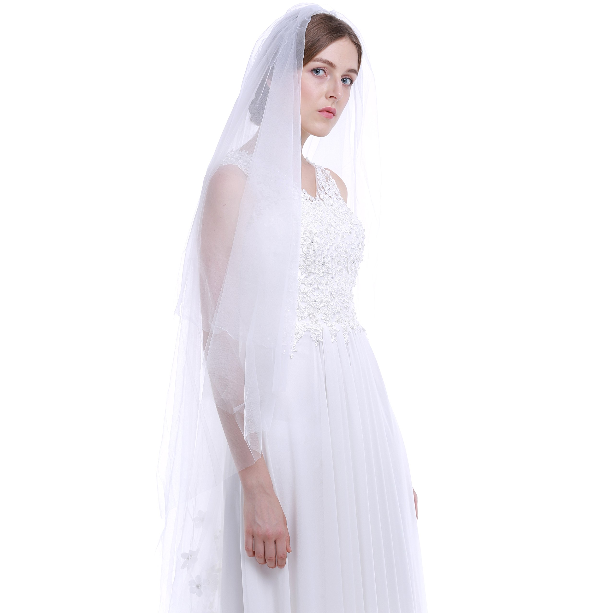 HailieBridal Women's 2 Tiers Cut Edge Floral Applique Chapel Length Wedding Veil (Off White)