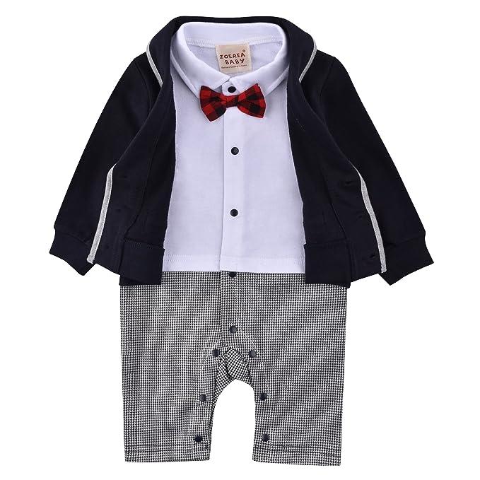 64191a88c Amazon.com  ZOEREA Baby Boys Romper Suits Bow Tie Baptism Wedding ...
