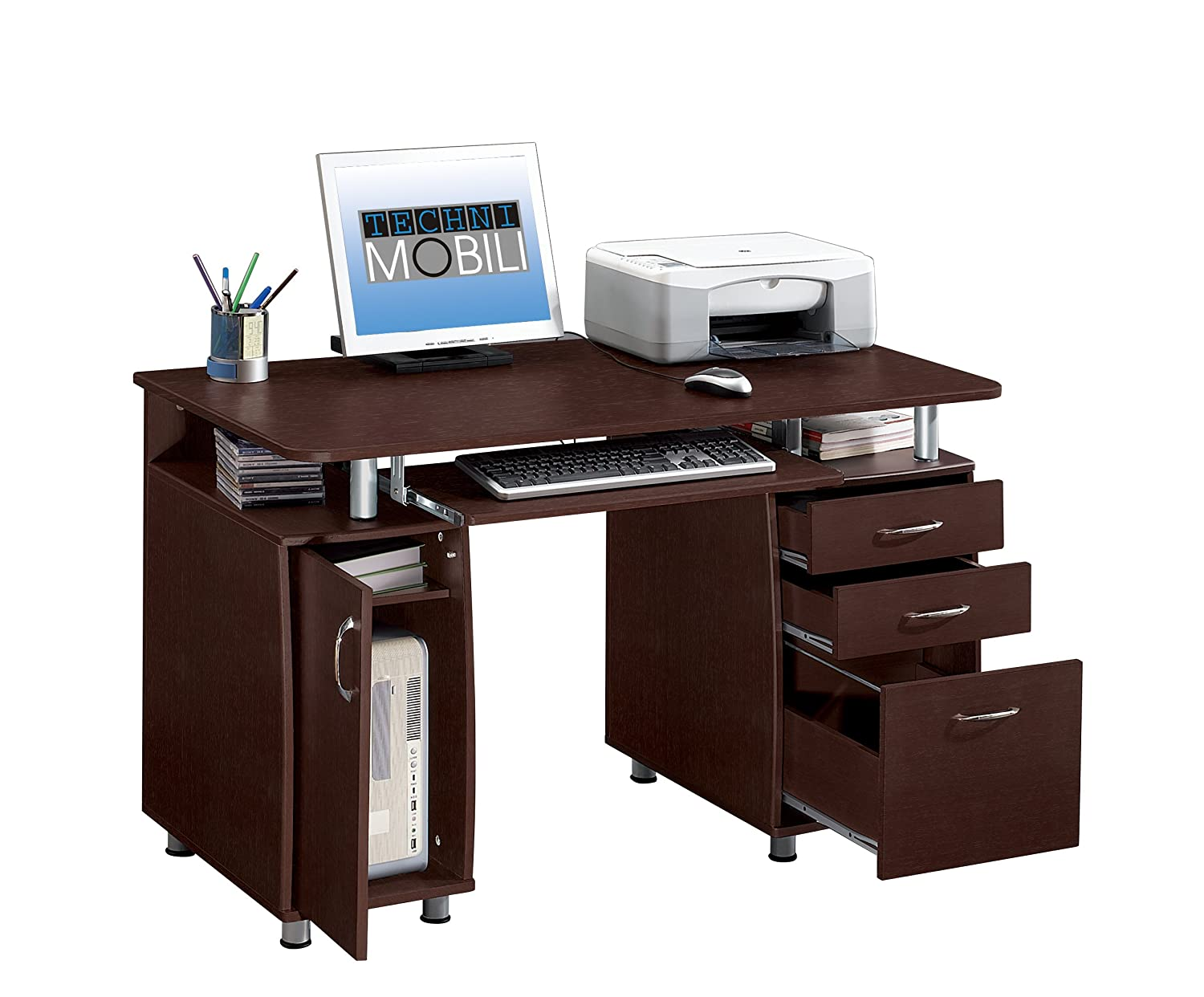 com with workstation techni dp computer desk office storage espresso mobili complete products amazon