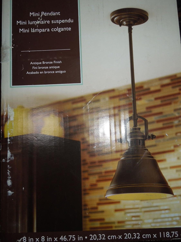 Allen roth 8 in w bronze mini pendant light with metal shade allen roth 8 in w bronze mini pendant light with metal shade pendant porch lights amazon arubaitofo Choice Image
