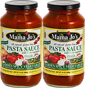 Mama Jos Pasta Sauce - Garden Vegetables (Spicy Hot). VEGAN. All Natural