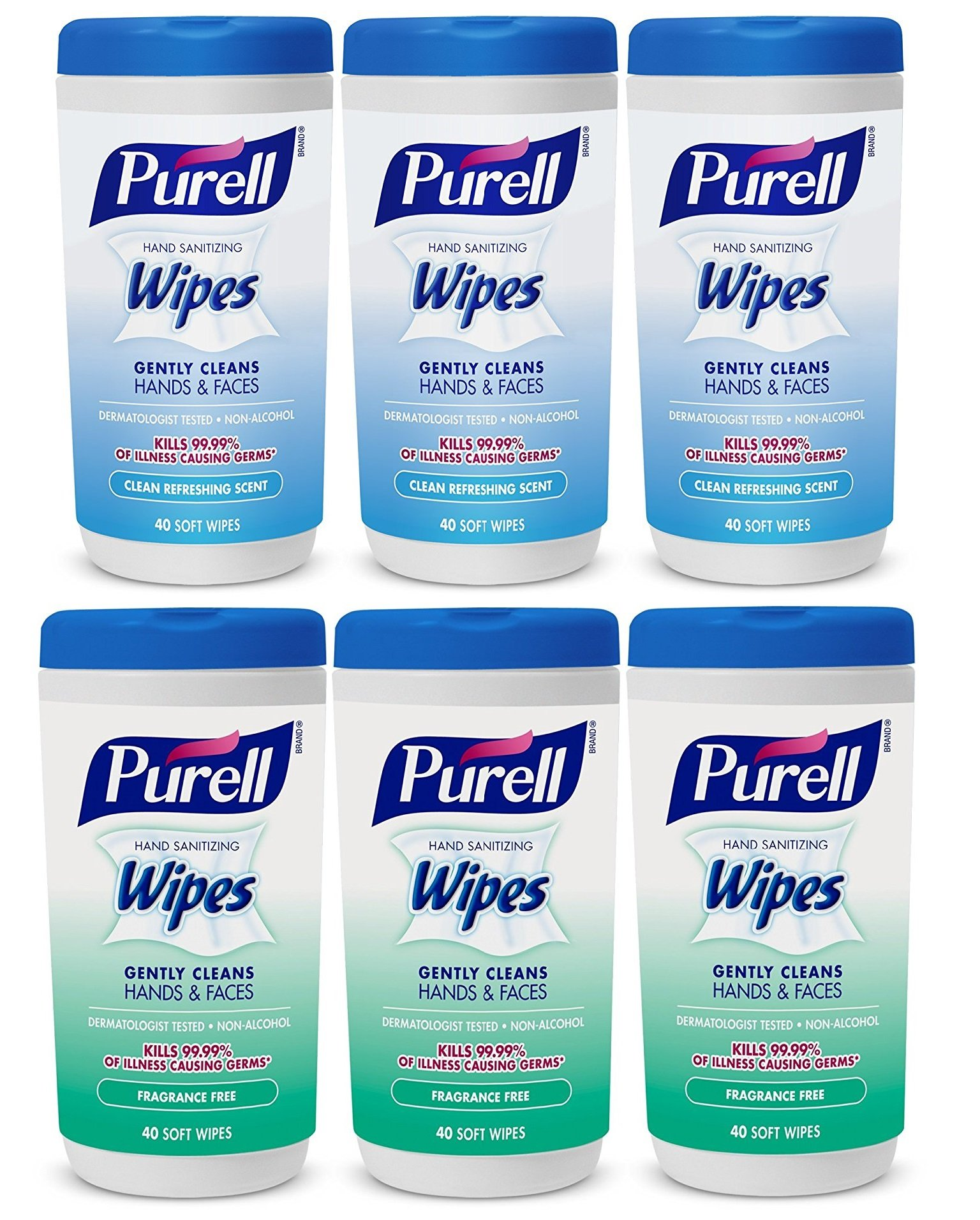 Hand and Face Sanitizing Wipes -3 Refreshing Scent And 3 Fragrance Free Canisters of 40 Count