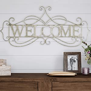 Lavish Home Metal Cutout Welcome Wall Sign-3D Word Art Accent Decor-Perfect for Modern Rustic or Vintage Farmhouse Style