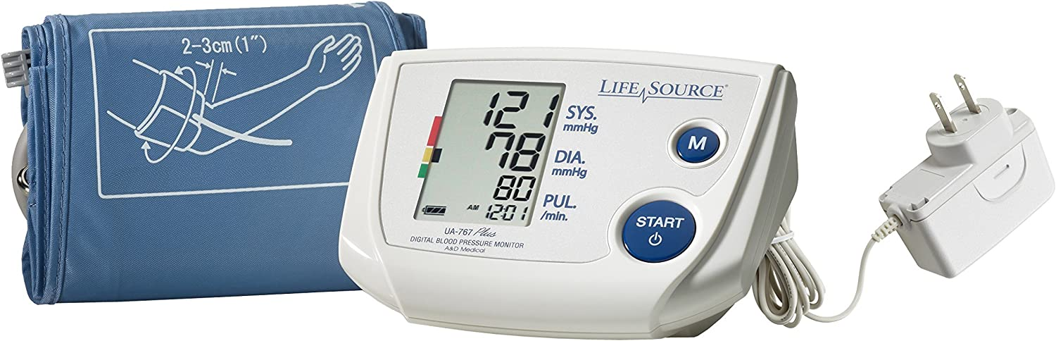 "LifeSource Upper Arm Blood Pressure Monitor, Small Cuff for Thin Arms, Fits 6.3"" – 9.4"" (UA-767PSAC)"