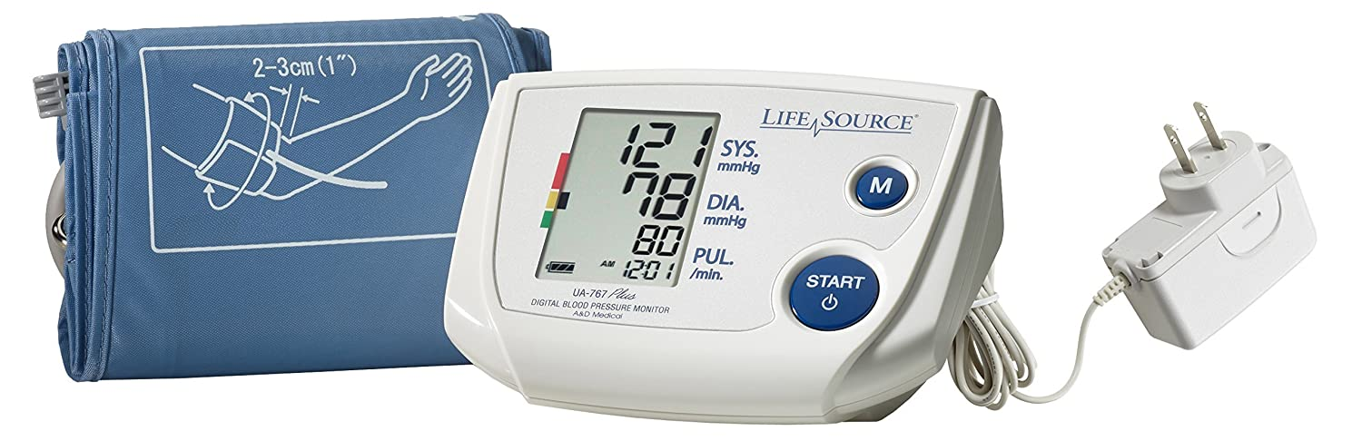 LifeSource UA-767PSAC Advanced One Step Auto Inflate Blood Pressure Monitor with Small Cuff and AC Adapter by LifeSource   B000B66RM8
