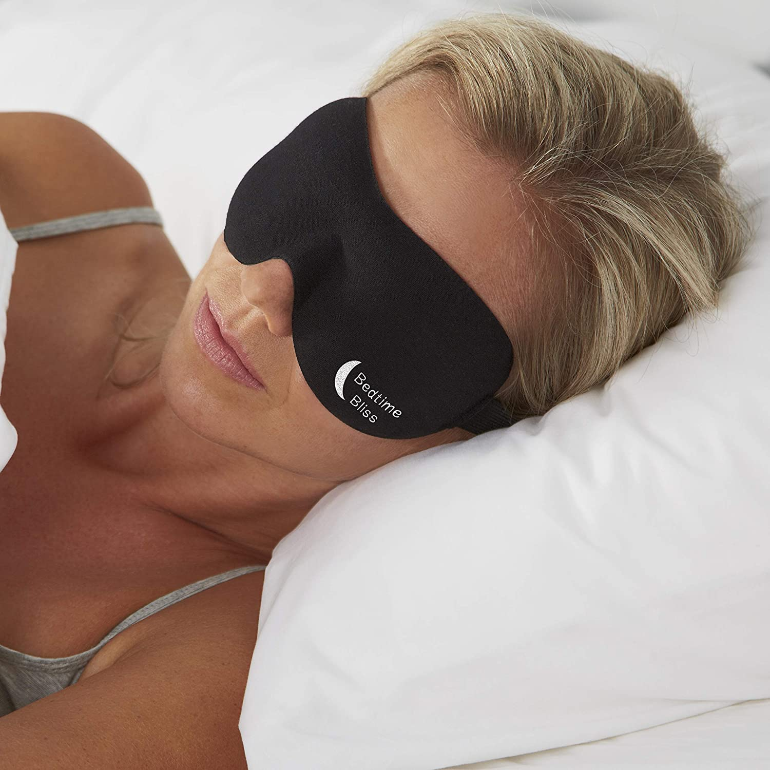 Bedtime Bliss Luxury Sleeping Eye Mask for Men & Women. Our Sleep Masks are Adjustable, Contoured & Comfortable for Full Blackout - Includes Carry Pouch and Ear Plugs -  Black : Beauty