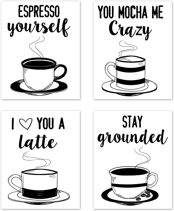 Amazon Com Kitchen Wall Art Coffee Prints Funny Inspirational Puns Signs Room Decor For Home And Dining Decor Coffee Mugs Tea Set Of 4 Unframed 8 X 10 Inches Black
