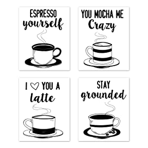 A LuxeHome Kitchen Wall Art Coffee Prints Puns Signs Room Decor - for Home and Dining Decor – Coffee Mugs Tea (Set of 4) Unframed 8 x 10 inches Black & White
