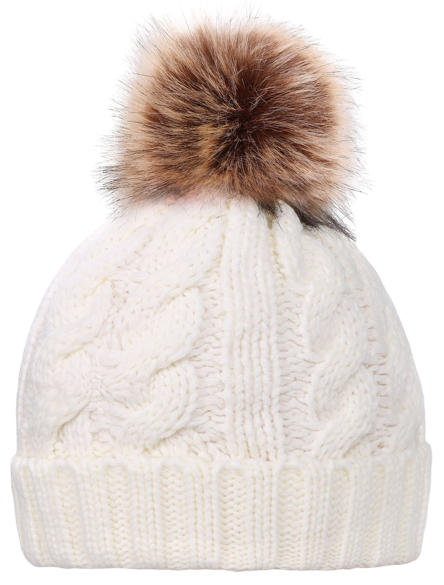 Simplicity Women's Winter Handcraft Knit Slouchy Beanie Snow Hat w/Pom Balls, White