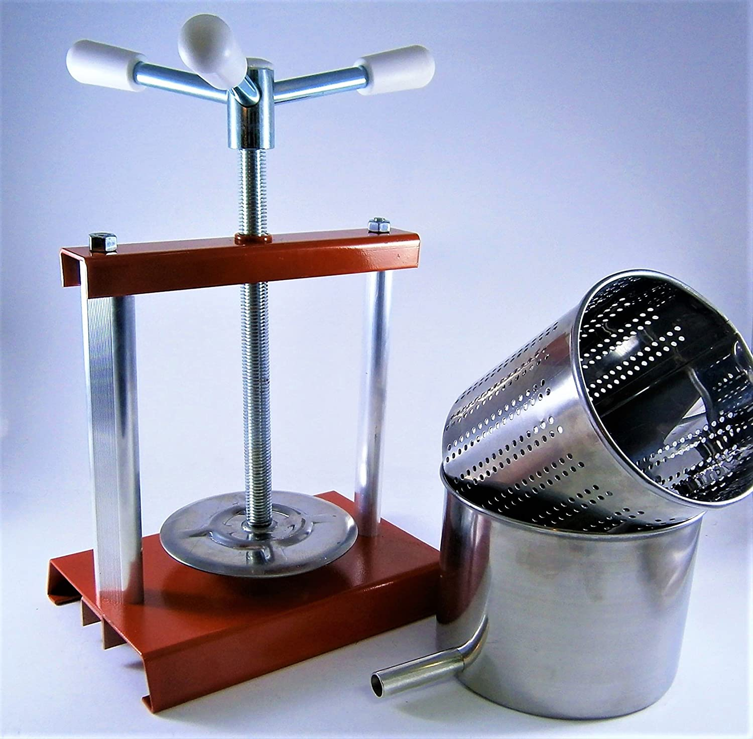 Cheese Press 5,9L with Stainless Steel Press Basket (Mold) 4,3 L - Fruit Press - Wine Press - Made in Italy AlcoFermBrew