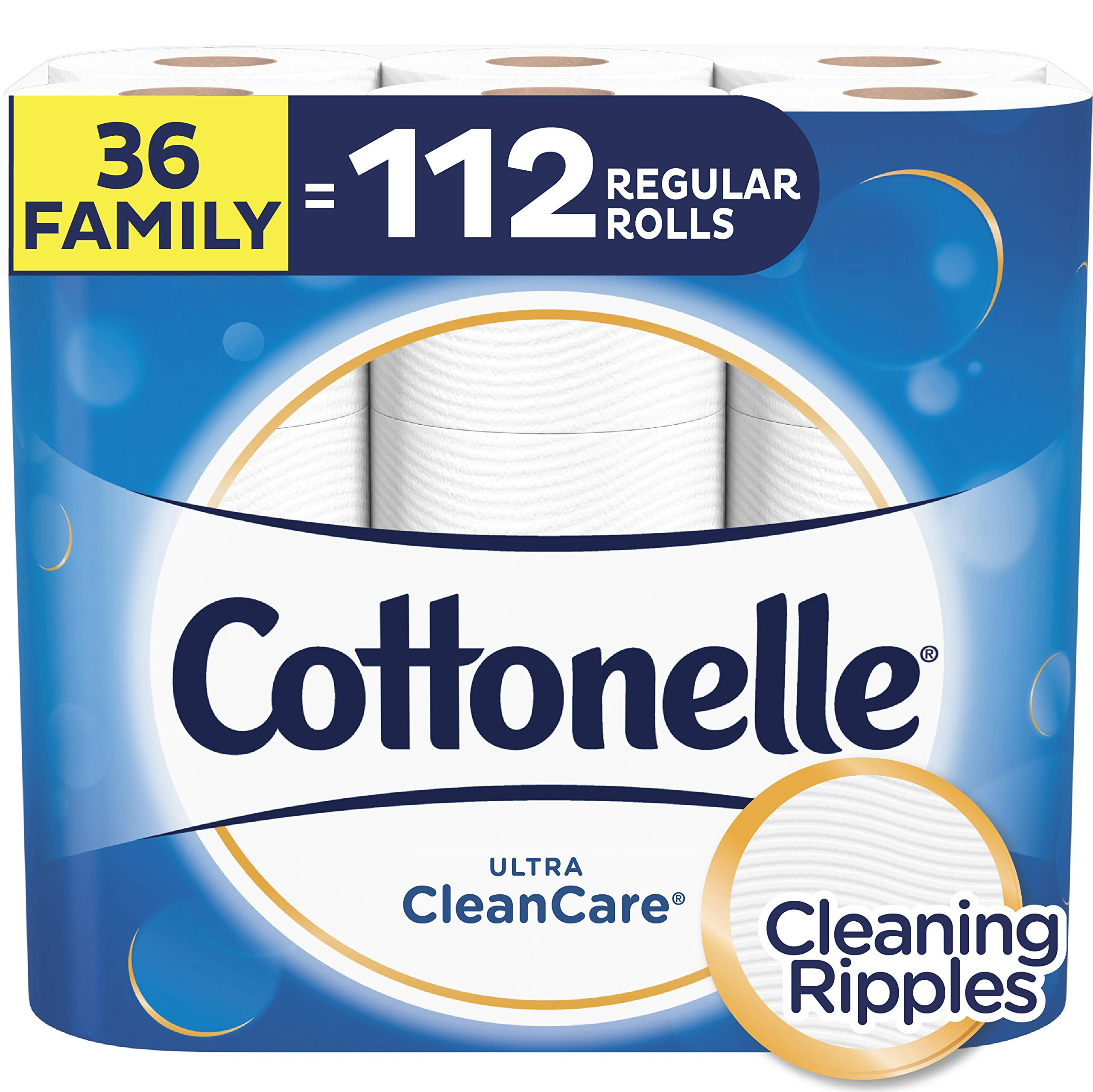 Cottonelle Ultra CleanCare Toilet Paper, Strong Bath Tissue, Septic-Safe, 36 Family+ Rolls by Cottonelle