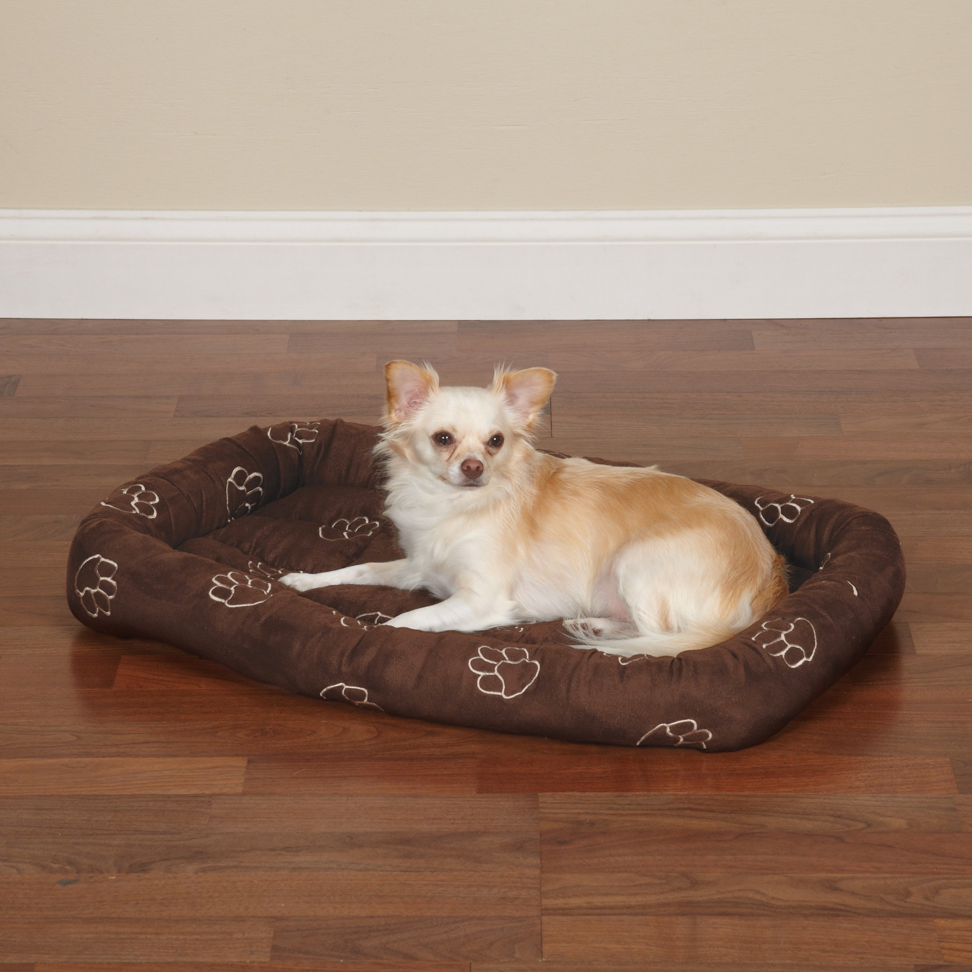 Slumber Pet Embroidered Pawprint Crate Beds - Soft and Extra-Durable Beds for Dogs and Cats - Medium/Large, 353/4'' L x 223/4'' W, Chocolate by Slumber Pet (Image #1)
