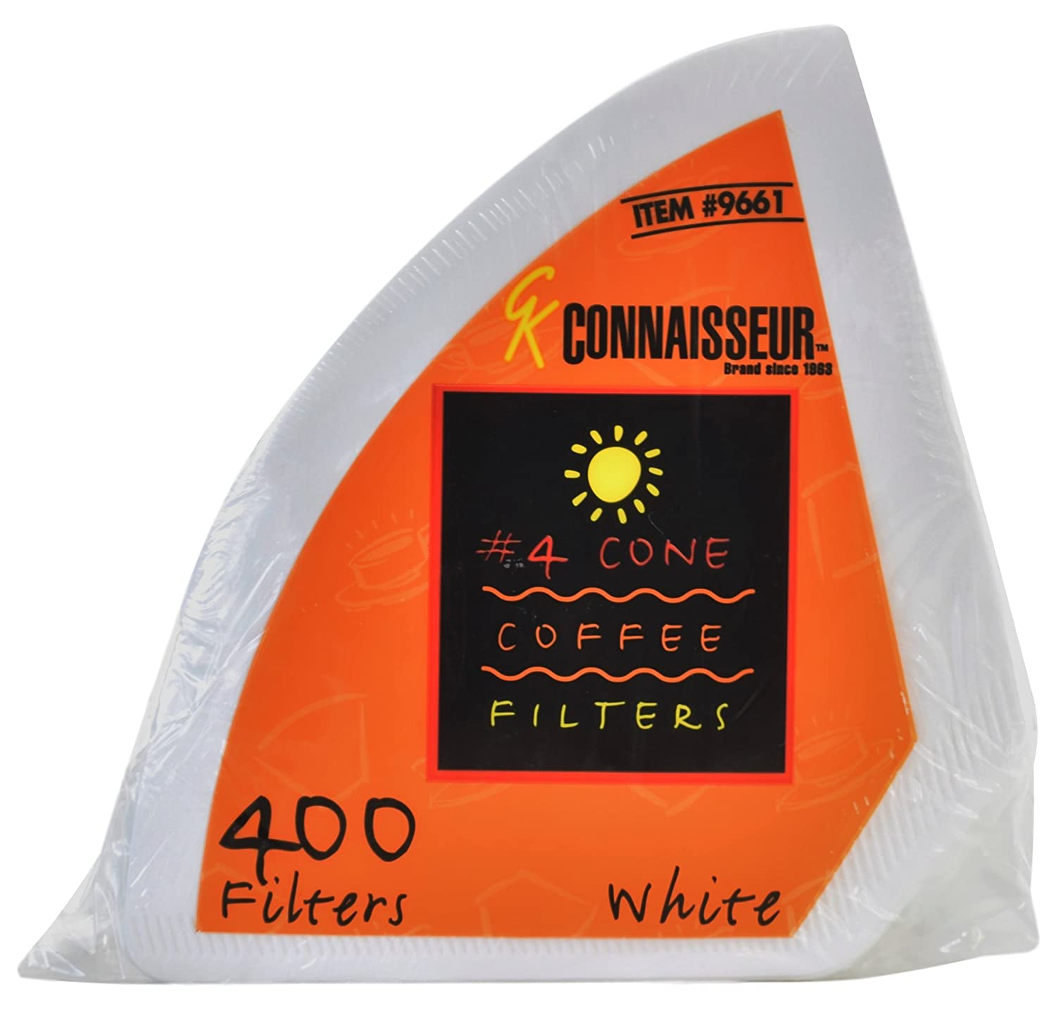 Connaisseur # 4 Cone White Coffee Filters, 400 Count Pack