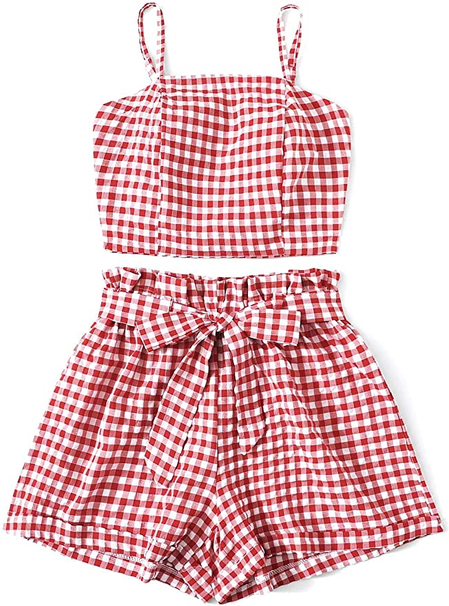 Cottagecore Clothing, Soft Aesthetic DREAGAL Womens 2 Piece Outfit Cute Summer Plaid Crop Cami Top with Belted Shorts Set  AT vintagedancer.com