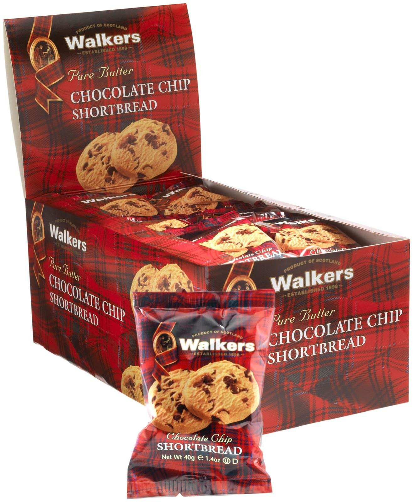 Walkers 2 Piece Shortbread Chocolate Chip Cookies, 0.24 Pound