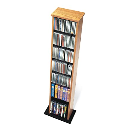 Charmant Oak U0026 Black Slim Multimedia Storage Tower